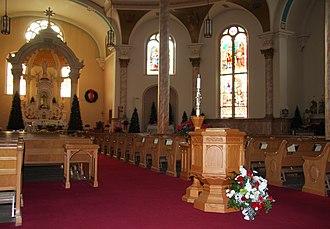 Basilica of Saint Stanislaus Kostka - Interior of the Basilica decorated for Christmas
