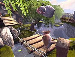 First screenshot of Yo Frankie!, running on the Blender Game Engine, showing Frank the sugar glider overlooking a collapsed bridge