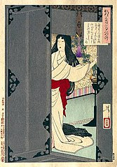 Akazome Emon viewing the moon from her palace chambers
