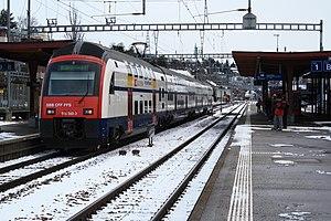 S16 (ZVV) - An RABe 514 at Zurich Tiefenbrunnen heading towards Herrliberg-Feldmeilen.