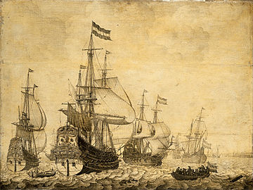 Zeegezicht met Hollandse oorlogsschepen - Dutch war ships at sea (Willem van de Velde I).jpg