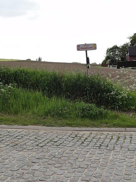 Haaghoek cobblestone road in Zegelsem, Brakel, East Flanders, Belgium