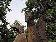 Skulptur «Die Zoogucker», Beginn des Skulpturenweges am Eingang des Zoos