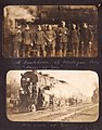 """A breakdown at Michigan City, 'some of 'em'"" Photograph of seven Royal Flying Corps staff next to a locomotive in Michigan City, Indiana. (3549674510).jpg"