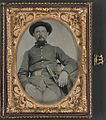 (Unidentified soldier in Confederate uniform and derby hat with sword) (LOC) (14379169837).jpg