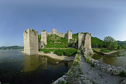 Golubac Fortress in Serbia, guarding the Danubian frontier of the Balkans Голубачка тврђава.jpg