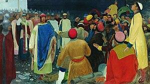 Gleb Svyatoslavich - Knyaz Gleb Svyatoslavovych kills Magi at the Novgorod veche (Prince's Court) painting by Andrei Ryabushkin