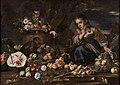 Мікеле Паче ді Кампідольо Натюрморт з фруктами і дівчинкою, котру налякала мавпа.jpg
