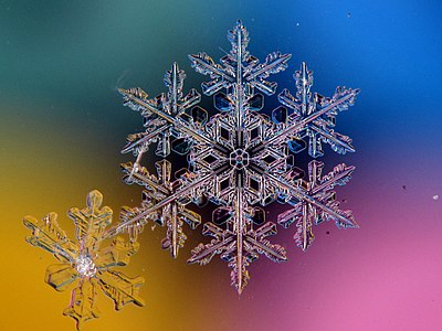Snowflake on a multi-colored background