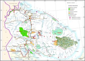 Kandalaksha Nature Reserve - PA's of Murmansk (in green).  Kandalaksha sectors are in the south along the bay, and on the north shore of the Barents Sea