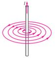 Ուղղագիծ հոսանքակիր հաղորդչի մագնիսական դաշտի ինդուկցիայի գծերը.PNG