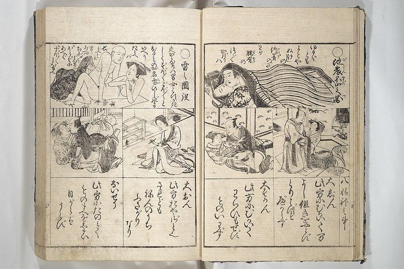 File:閨暦大雑書玉門大成-Erotica; Compendium Guide to the Brothels of Osaka (Keiryaku ōzassho gyokumon taisei) MET 2013 807 a b 06.jpg