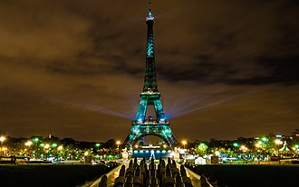 2015 United Nations Climate Change Conference - Eiffel Tower illuminated in green in response to the One heart, One tree campaign