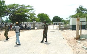 Pedernales, Dominican Republic - Border between Haiti and Dominican Republic, viewed from D.R. side, May 2007.