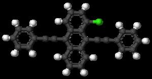 1-Chloro-9,10-bis(phenylethynyl)anthracene - Image: 1 Chloro 9,10 bis(phenylethynyl)an thracene 3D balls
