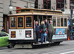 A San Francisco cable car heading south on Powell Street