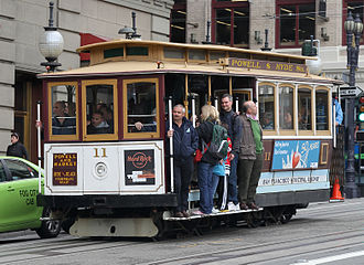Cable car (railway) - Image: 11 Cable Car on Powell St crop, SF, CA, jjron 25.03.2012
