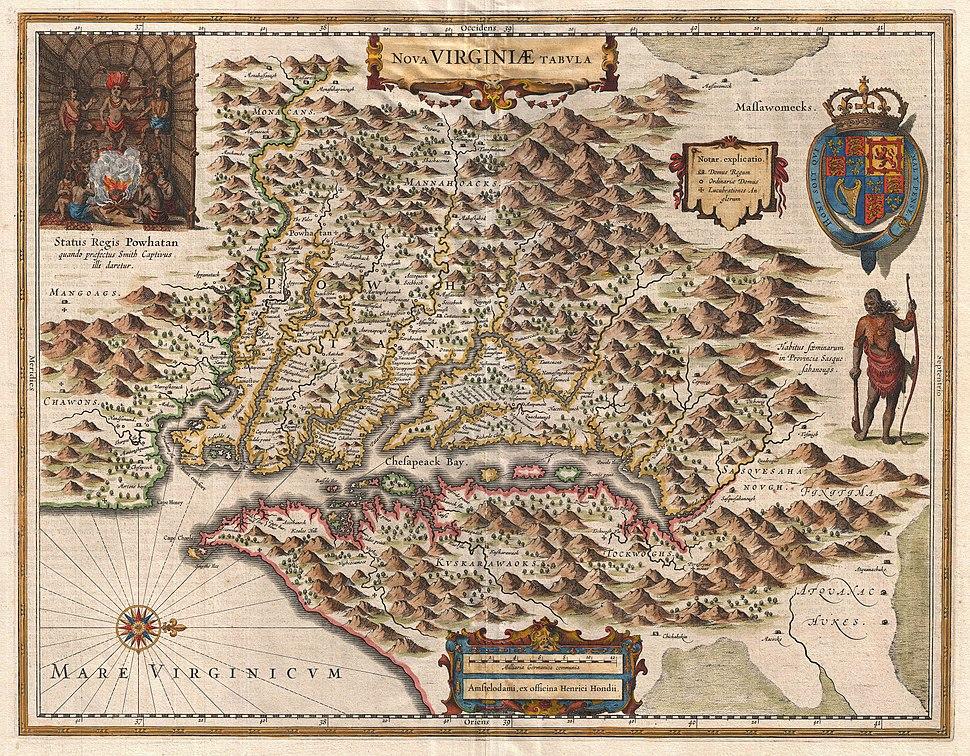 1630 Hondius Map of Virginia and the Chesapeake - Geographicus - NovaVirginiaeTabula-hondius-1630