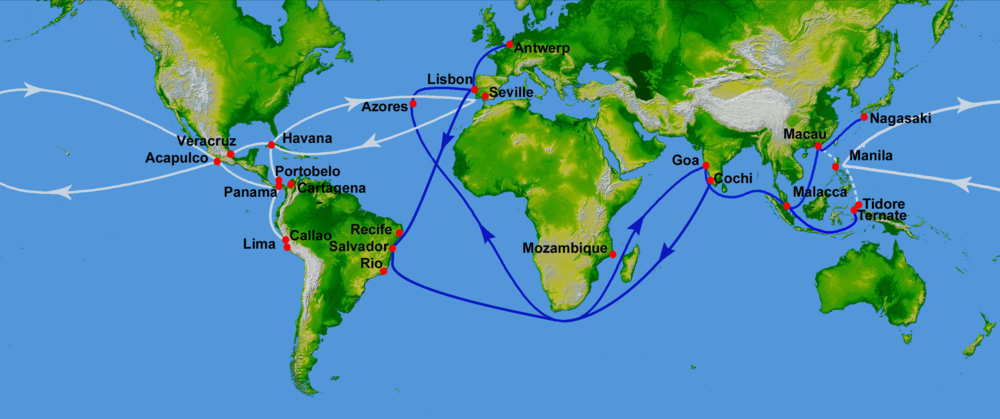 Spanish galleon routes (white): West Indies or trans-atlantic route begun in 1492, Manila galleon or trans-pacific route begun in 1565. (Blue: Portuguese routes, operational from 1498 to 1640) 16th century Portuguese Spanish trade routes.png