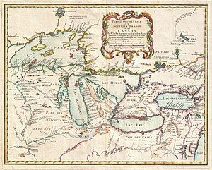 Pays d'en Haut - Pays d'en Haut New France on a map by Jacques Nicholas Bellin in 1755.