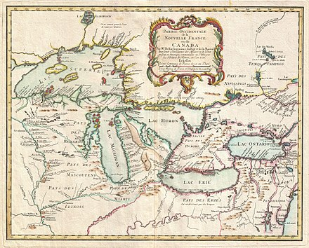 A 1755 map of the Pays d'en Haut region of New France, an area that included most of Ontario 1755 Bellin Map of the Great Lakes - Geographicus - GreatLakes-bellin-1755.jpg