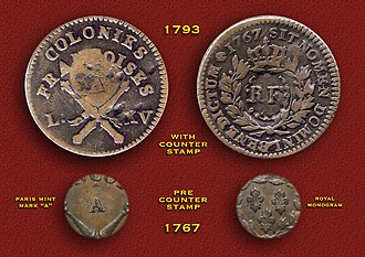 "French colonial empire - 1767 Louis XV Colonies Françoises (West Indies) 12 Diniers copper Sous (w/1793 ""RF"" counterstamp)"