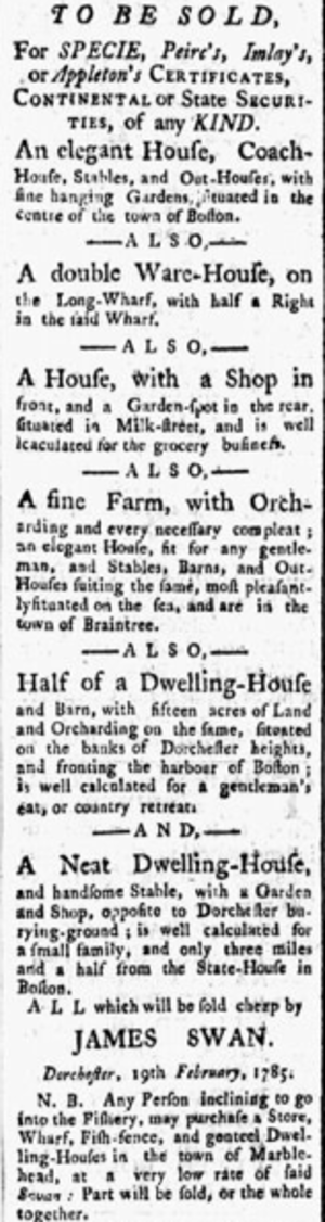 James Swan (financier) - Notice from Swan about property for sale in the Boston area (Contintental Journal, 1785)