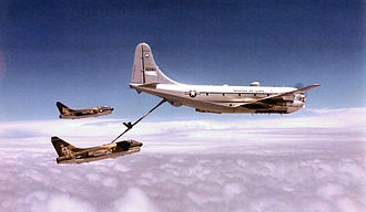 180th Airlift Squadron - 180th Air Refueling Squadron Boeing KC-97G Stratofreighter 53-283 refueling 23d TFW A-7D Corsair IIs from England AFB, Louisiana. A-7s identified as 71-314 and 70-941
