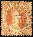 1868 1d wmk small star Queensland 87 Yv24 SG59.jpg