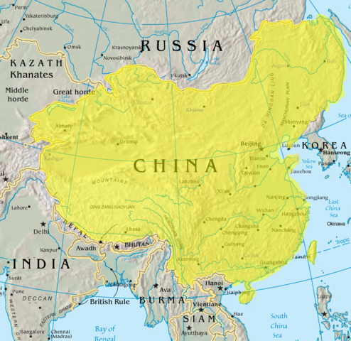 Map of Qing Dynasty China in 1765