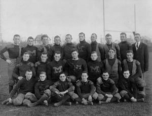 1910 Michigan Wolverines football team - Team portrait taken on Ferry Field, c. October 1910