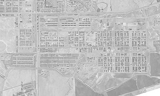 Camp Stoneman - October 11, 1947, view of Camp Stoneman (rotated horizontal), bordered by Railroad Avenue on west, Contra Costa Canal on the south, and what in 2017 are California Avenue on the north, and Arlington Circle to the east