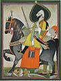 1 Bakhtawar Singh conquers a lion. Alwar, ca. 1800, SD.jpg