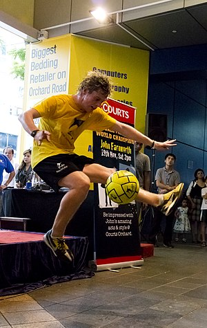 Freestyle football - John Farnworth performing a freestyle trick in Singapore in 2011, where he broke two records.