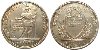 Swiss franc - 1 franc coin of Vaud (1845)