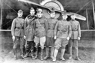 Toul-Croix de Metz Airfield - Members of the 1st Aero Squadron, standing in front of a Salmson 2A2 reconnaissance aircraft at Croix de Metz Aerodrome in 1918 during World War I