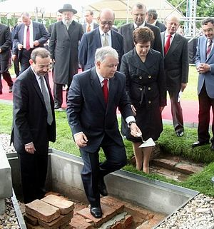 POLIN Museum of the History of Polish Jews - President of the Republic of Poland, Lech Kaczynski, at the groundbreaking ceremony for the POLIN Museum, 26 June 2007