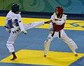 2008 Summer Olympics Taekwondo - Mildred Alango v. Wu Jingyu 3 (cropped).jpg