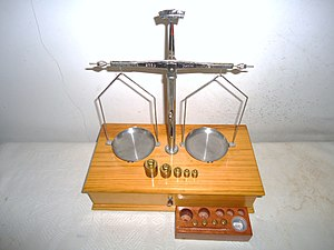 Avoirdupois - Finely crafted pan balance or scales with boxed set of standardized gram weights sequenced in units of mass. Such scales are used to make the most accurate of fine measurements, such as in the needs of empirical chemistry.
