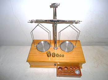 Finely crafted pan balance or scales with boxed set of standardized gram  weights sequenced in units of mass. Such scales are used to make the most  accurate ...