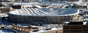 Hubert H. Humphrey Metrodome - The deflated roof, a day after heavy snow and high winds from the December 11, 2010 blizzard caused the roof to tear and deflate.