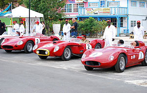 Bahamas Speed Week - Lineup of main contenders in the 2011 Bahamas Speed Week Revival. In the foreground Stirling Moss in his Morelli-bodied O.S.C.A. FS 372.