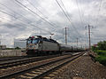 2014-05-15 15 01 21 Amtrak train heading south along the Northeast Corridor rail line in Trenton, New Jersey.JPG