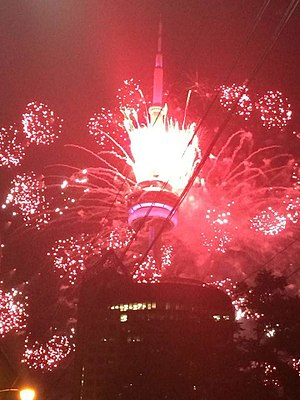 2015 Pan American Games opening ceremony - CN Tower during the opening ceremony
