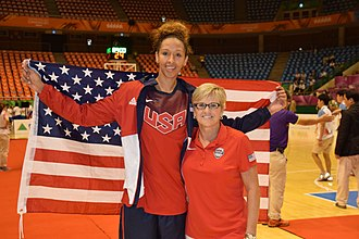 USA Women's World University Games Team - Mercedes Russell with coach Holly Warlick after the World University gold medal game in South Korea