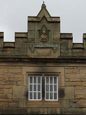 Lancaster railway station - The 1852 extension includes a relief carving of the coat of arms of Lancaster.
