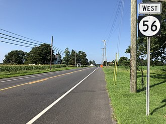 Upper Deerfield Township, New Jersey - Route 56 westbound in Upper Deerfield Township