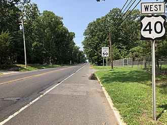 Pittsgrove Township, New Jersey - US 40 westbound on the border of Pittsgrove Township and Upper Pittsgrove Township