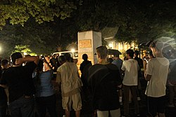 Crowds gathered around the pedestal after Silent Sam was toppled