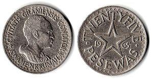 "Kwame Nkrumah - 25 pesewas (Ȼ0.25) coins depicting Nkrumah: ""Civitatis Ghanensis Conditor"" (""Founder of the Ghanaian State"")"